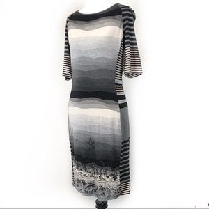 Desigual Dresses - Desigual Body Con Fine Knit Dress Abstract Stripes